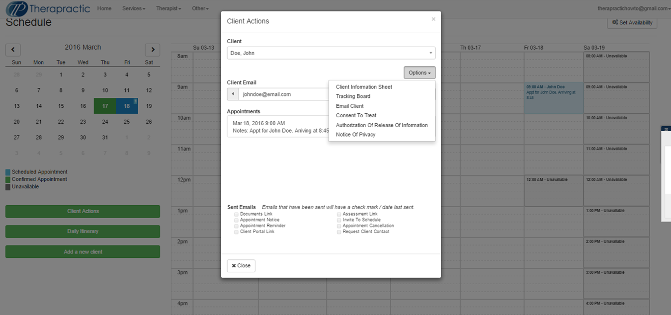Screenshot 14 - Email client through client actions