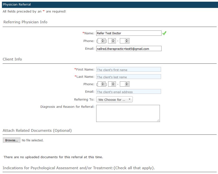 Enter Client Referral Info